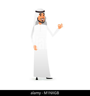 Cartoon arab man. Arabic businessman flat character. Arabian muslim entrepreneur in traditional national costume - Stock Photo