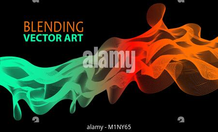 Vector illustration of an abstract background. Blending art wave - Stock Photo