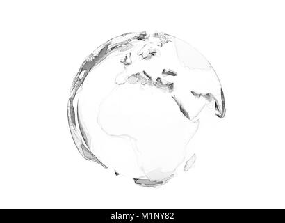 3d polygon world globe isolated on white - Stock Photo