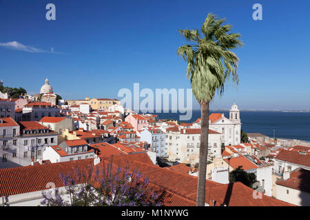 View from Santa Luzia viewpoint over Alfama district to Tejo River, Lisbon, Portugal, Europe - Stock Photo