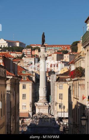 Rossio, Praca de Dom Pedro IV, Baixa, Lisbon, Portugal, Europe - Stock Photo
