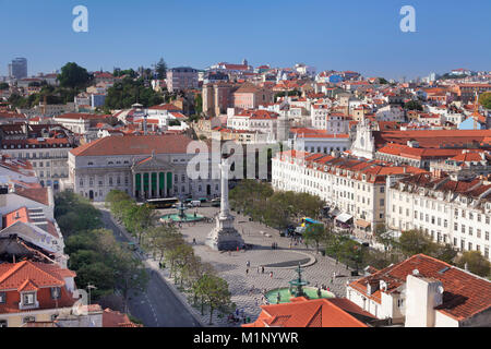 Rossio, Praca Dom Pedro IV, National Theatre Dona Maria II, Baixa, Lisbon, Portugal, Europe - Stock Photo