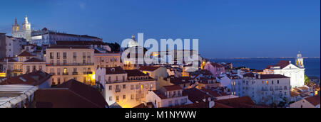 Santa Luzia viewpoint, Sao Vicente de Fora monastery, National Pantheon, Alfama district, Lisbon, Portugal, Europe - Stock Photo