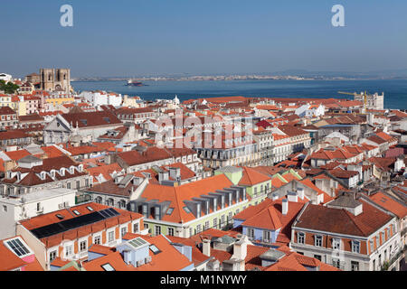 View over the old town to Se Cathedral and Tejo River, Lisbon, Portugal, Europe - Stock Photo