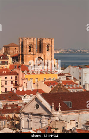 Se Cathedral at sunset, Alfama, Lisbon, Portugal, Europe - Stock Photo