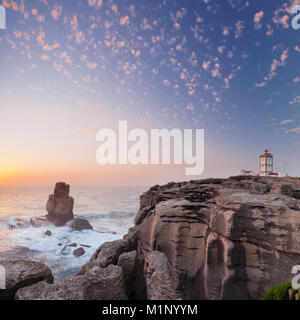 Cabo Carvoeiro lighthouse, Costa da Prata, Silver Coast, Peniche, Atlantic Ocean, Portugal, Europe - Stock Photo