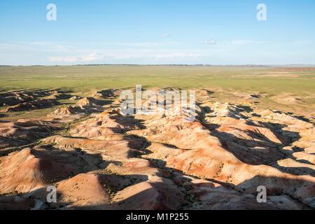White Stupa sedimentary rock formations, Ulziit, Middle Gobi province, Mongolia, Central Asia, Asia - Stock Photo