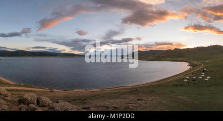 Sunset over White Lake, Tariat district, North Hangay province, Mongolia, Central Asia, Asia - Stock Photo
