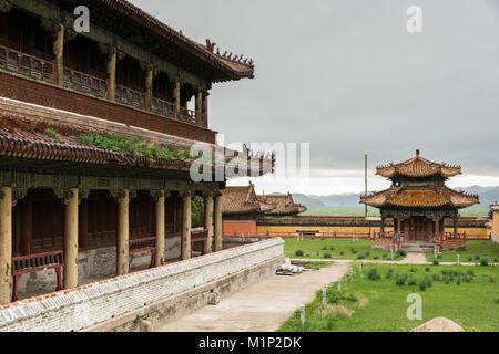 Temples in Amarbayasgalant Monastery, Mount Buren-Khaan, Baruunburen district, Selenge province, Mongolia, Central - Stock Photo