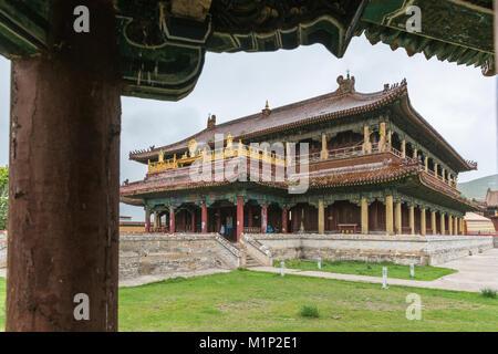 Temple in Amarbayasgalant Monastery, Mount Buren-Khaan, Baruunburen district, Selenge province, Mongolia, Central - Stock Photo