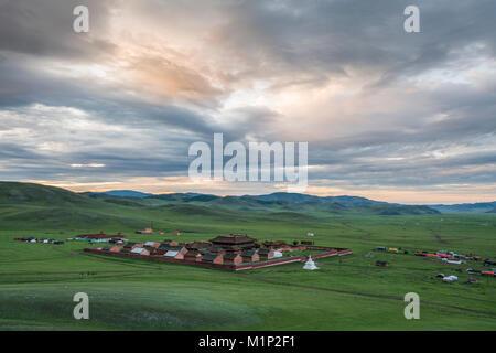 View of Amarbayasgalant Monastery from above at sunset, Mount Buren-Khaan, Baruunburen district, Selenge province, - Stock Photo