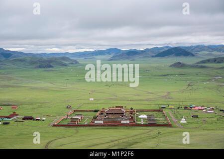 View of Amarbayasgalant Monastery from above, Mount Buren-Khaan, Baruunburen district, Selenge province, Mongolia, - Stock Photo