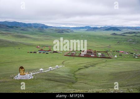 Amarbayasgalant Monastery from above, Mount Buren-Khaan, Baruunburen district, Selenge province, Mongolia, Central - Stock Photo
