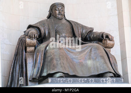 Genghis Khan statue at the Government Palace, Ulan Bator, Mongolia, Central Asia, Asia - Stock Photo