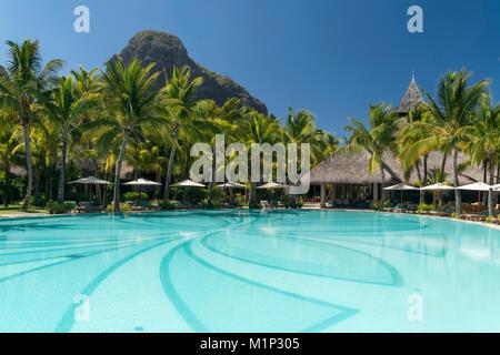 Pool of the Hotel Dinarobin Beachcomber,in the back mountain Le Morne Brabant,peninsula Le Morne,Black River,Mauritius - Stock Photo
