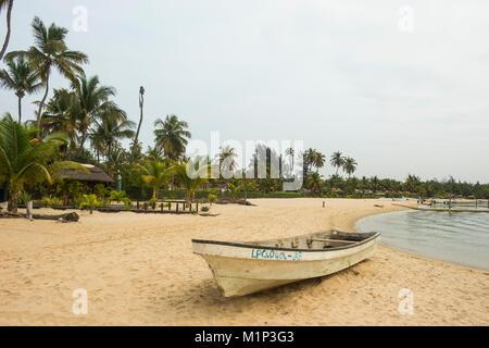 Long beach on Mussulo island, Luanda, Angola, Africa - Stock Photo