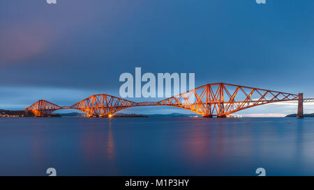 The Forth Rail Bridge on the Firth of Forth at dawn, UNESCO World Heritage Site, South Queensferry, Edinburgh, Lothian, - Stock Photo