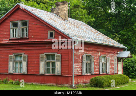 Old 19th century wooden family house, Latvian Ethnographic Open Air Museum, Riga, Latvia, Europe - Stock Photo