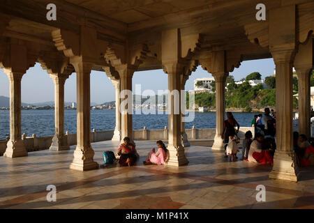 Baradari built by Shah Jahan at Lake Anasagar, Ajmer, Rajasthan, India, Asia - Stock Photo
