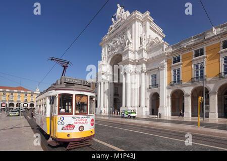 Tram, Arco da Rua Augusta triumphal arch, Praca do Comercio, Baixa, Lisbon, Portugal, Europe - Stock Photo
