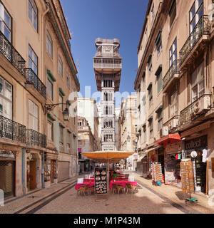 Elevador de Santa Justa (Santa Justa Elevator), Baixa, Lisbon, Portugal, Europe - Stock Photo