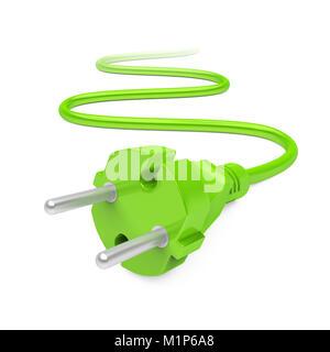 Green Power Plug Isolated - Stock Photo