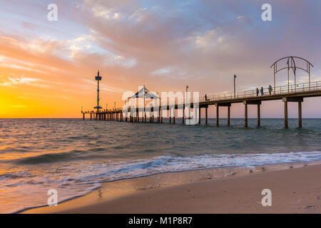 A vibrant sunset at Brighton Jetty in Brighton, Adelaide, South Australia, Australia on 1st February 2018 - Stock Photo