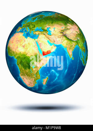 Yemen in red on model of planet Earth hovering in space. 3D illustration isolated on white background. Elements - Stock Photo