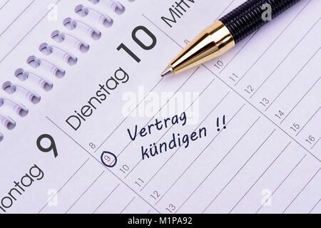 Kündigung Vertrag Termin im Kalender - Stock Photo