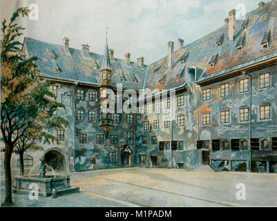The Courtyard of the Old Residency in Munich by Adolf Hitler - Stock Photo