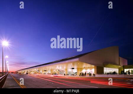 Southwest Florida International Airport Terminal at Dusk - Stock Photo