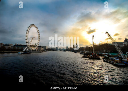 View from Golden Jubilee Bridge over the River Thames with the London Eye, London, England - Stock Photo
