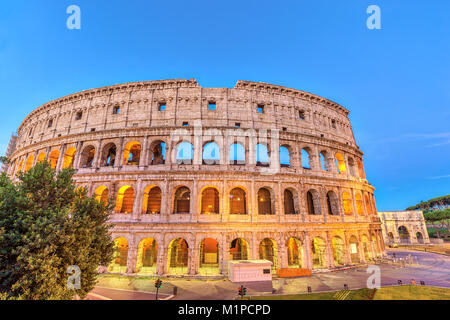 Rome night city skyline at Rome Colosseum (Roma Coliseum), Rome, Italy - Stock Photo