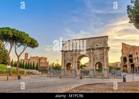 Rome sunrise city skyline at Arch of Constantine, Rome, Italy - Stock Photo
