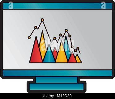 graph chart on computer screen icon image  - Stock Photo
