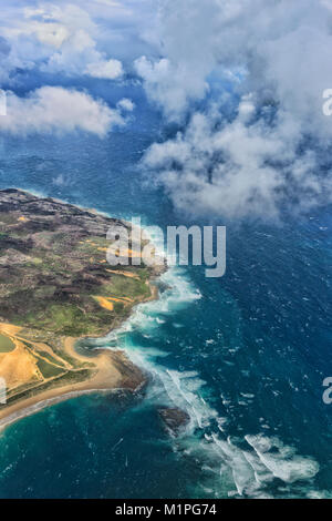 Aerial view of the coastline north of Sydney, New South Wales, NSW, Australia - Stock Photo