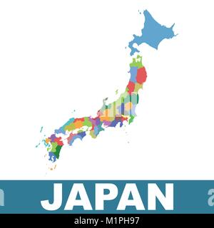Japan administrative map. Vector flat - Stock Photo