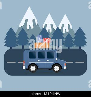 Travel car campsite place landscape. Mountains, trees, fir tree, and road. Vector illustration in flat style. - Stock Photo