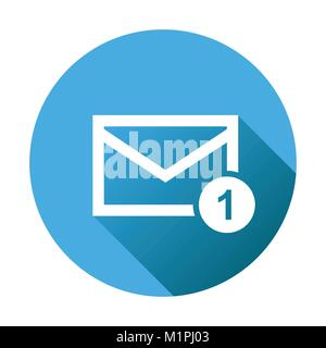 Mail envelope message. Vector illustration in flat style on round blue background. - Stock Photo