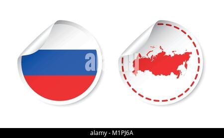 Russia sticker with flag and map. Russian Federation label, round tag with country. Vector illustration on white - Stock Photo