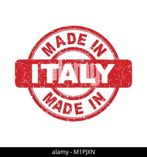 Made in Italy red stamp. Vector illustration on white background - Stock Photo