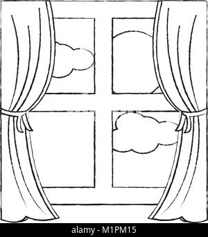 window with curtains icon image  - Stock Photo