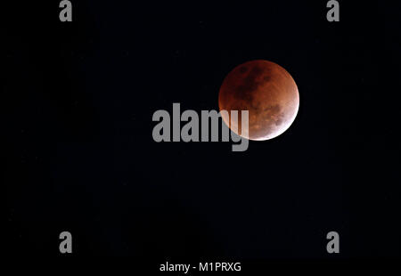 Super Blue Blood Moon - Lunar Eclipse - 31 January 2018 - Stock Photo