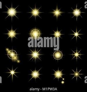Set of glow light effect stars bursts with sparkles on black background. Vector - Stock Photo