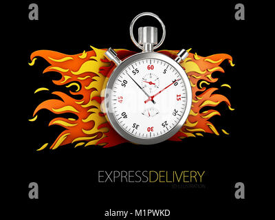 3d illustration of Express delivery icon for apps and website. Delivery concept. isolated black. - Stock Photo