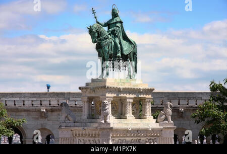 Saint Istvan statue and fisherman's bastion in Budapest, Hungary - Stock Photo