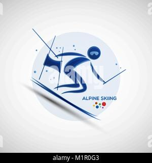 Alpine skiing championship banner. Winter sports icon. Abstract sportsman silhouette. Vector illustration of slalom - Stock Photo