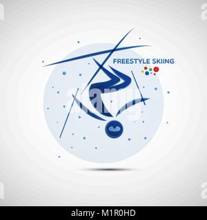 Freestyle Skiing championship banner. Winter sports icon. Abstract sportsman silhouette. Vector illustration of - Stock Photo