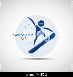 Snowboarding championship banner. Winter sports icon. Abstract sportsman silhouette. Vector illustration of freestyle - Stock Photo