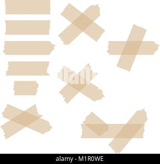 Set of various adhesive tape pieces on white background. Vector. - Stock Photo